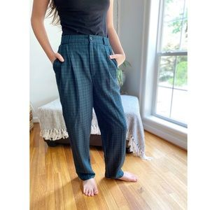 Vintage Classic Plaid High Waist Trouser Pants